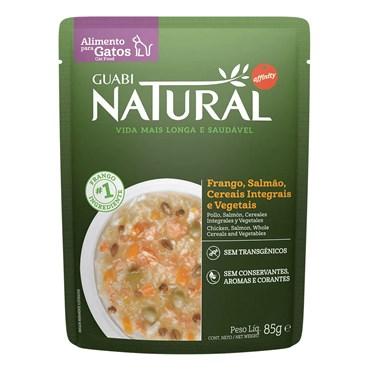 Alimento Úmido Guabi Natural Sachê Gatos Castrados Frango, Salmão, Cereais e Vegetais 85g