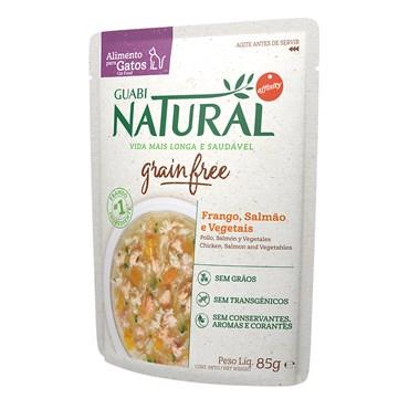 Alimento Úmido Guabi Natural Sachê Grain Free Gatos Castrados Frango, Salmão e Vegetais 85g