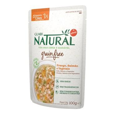 Alimento Úmido Guabi Natural Sachê Grain Free para Cães Adultos Sabor Frango, Salmão e Vegetais 100 g