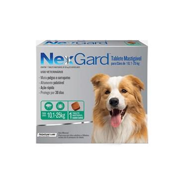 Antipulgas e Carrapatos NexGard para Cães de 10,1 a 25 Kg  com 1 Comprimido