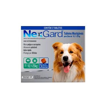 Antipulgas e Carrapatos NexGard para Cães de 10,1 a 25 Kg com 3 Comprimidos
