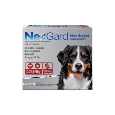 Antipulgas e Carrapatos NexGard Para Cães de 25,1 a 50 Kg com 1 Comprimido