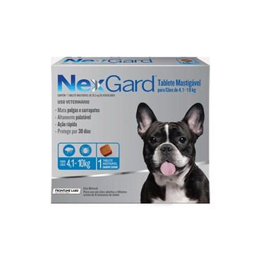 Antipulgas e Carrapatos NexGard para Cães de 4,1 a 10 Kg