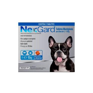 Antipulgas e Carrapatos NexGard para Cães de 4,1 a 10 Kg com 3 Comprimidos