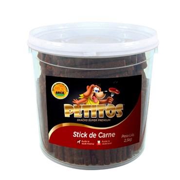 Balde Petisco Petitos Palito para Cães de Sabor Carne 2,5kg