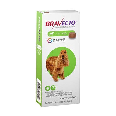 Bravecto Antipulgas e Carrapatos Cães de 10 a 20 kg - 1 Comprimido 500mg