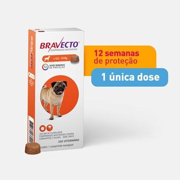 Bravecto Antipulgas e Carrapatos Cães de 4,5 a 10 kg - 1 Comprimido 250mg
