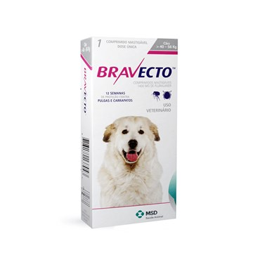 Bravecto Antipulgas e Carrapatos Cães de 40 a 60  kg - 1 Comprimido 1400mg