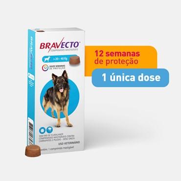 Bravecto Antipulgas e Carrapatos para Cães de 20 a 40 kg - 1 Comprimido 1000 mg