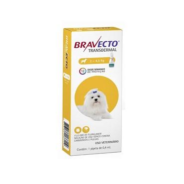 Bravecto Transdermal Antipulgas e Carrapatos Para Cães de 2 a 4,5 kg - 112,5 mg