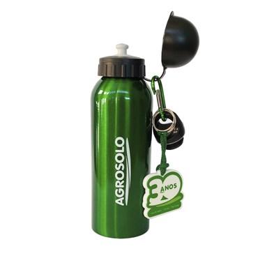 Brinde - Squeeze de Alumínio Promocional Agrosolo com Chaveiro 500ml
