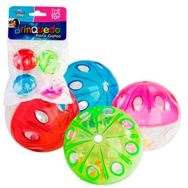 Brinquedo para gatos Bolinha Cristal com Guizo com 4 unidades cores sortidas - THE PETS