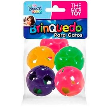 Brinquedo para Gatos Bolinhas de futebol coloridas com 5 unidades - THE PETS
