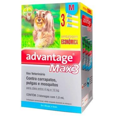 Combo Antiparasitário Advantage Max-3 M Para Cães de 04 a 10 kg - 3 Pipetas (1,0 ml)