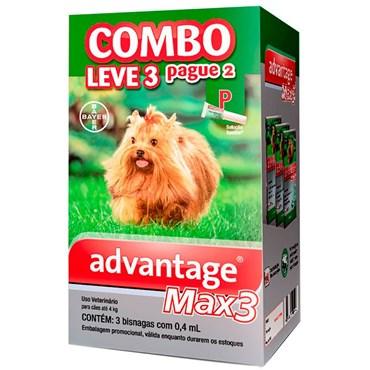 Combo Antiparasitário Advantage Max-3 P Para Cães de 00 a 04 kg - 3 Pipetas (0,4 ml)