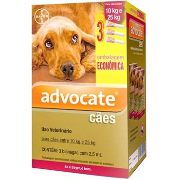 Combo Antiparasitário Advocate Para Cães 10 a 25kg com 3 Pipetas (2,5 ml)