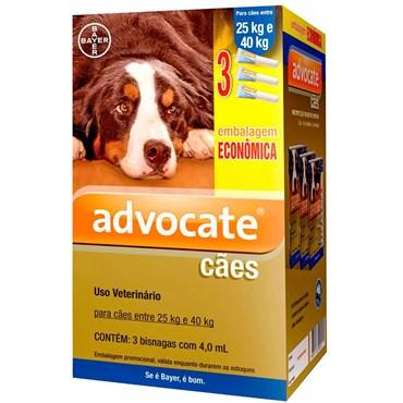 Combo Antiparasitário Advocate Para Cães  25 a 40kg Com 3 Pipetas (4,0 ml)