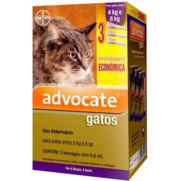 Combo Antiparasitário Advocate Para Gatos 4 a 8kg - 3 Pipetas (0,8 ml)
