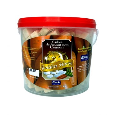 Cubos de Açúcar para Cavalos Golden Horse Sabor Cenoura 1 kg