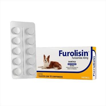 Diurético Furolisin (Furosemida) Vetnil para Cães e Gatos com 10 Comprimidos