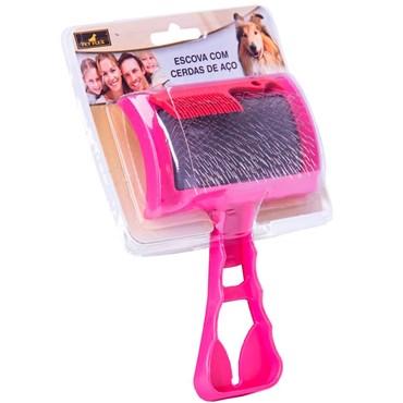 Escova com Cerdas de Aço cor Rosa - PET FLEX