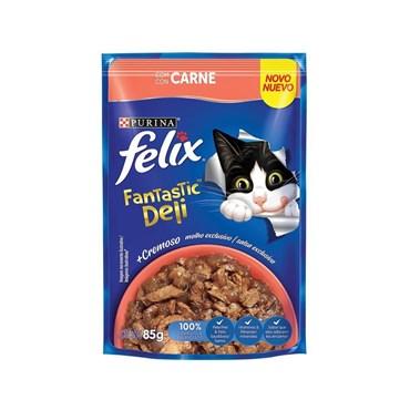 Felix Sachê Fantastic Deli Para Gatos Adultos Sabor Carne 85g