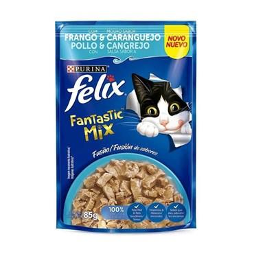 Felix Sachê Fantastic Deli Para Gatos Adultos Sabor Mix Frango e Caranguejo 85g