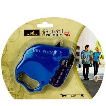 Guia Retrátil Premium cor Azul 3m até 7kg PET FLEX