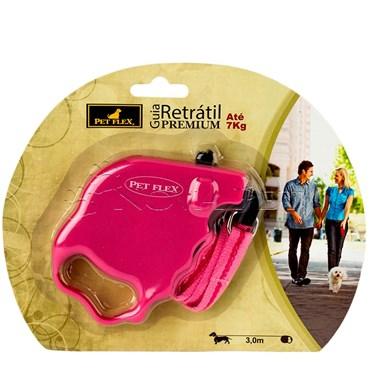 Guia Retrátil Premium cor Rosa 3m até 7kg PET FLEX