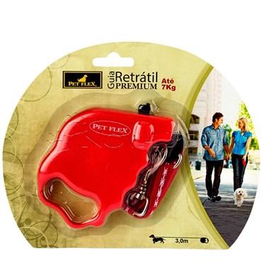 Guia Retrátil Premium cor Vermelha 3m até 7kg PET FLEX