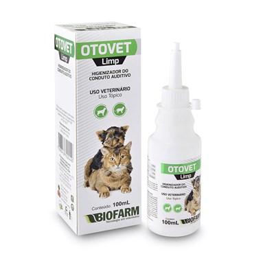 Higienizador do Conduto Auditivo Otovet Limp Biofarm para Cães e Gatos 100ml