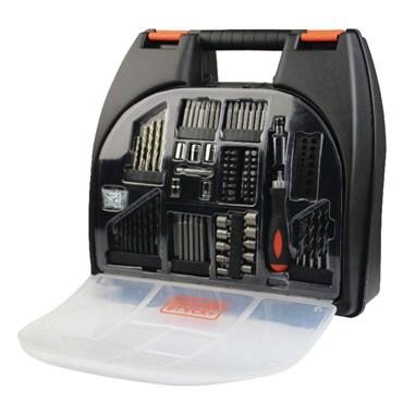 """Kit Furadeira/Parafusadeira 3/8"""" a Bateria 12V 10MM Com 100 Acessórios Ref CD121K100 - Black+Decker"""