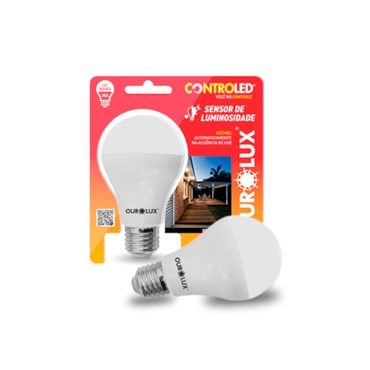 Lâmpada Led Controled Sensor de Luminosidade 9W Bivolt 6500k - Ourolux