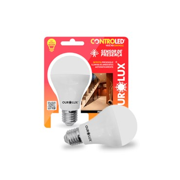Lâmpada Led Controled Sensor de Presença 9W Bivolt 6500k - Ourolux