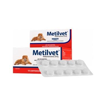 Metilvet (Metilprednisolona) Anti-inflamatório, Analgésico e Imunossupressor para Cães e Gatos - Vetnil