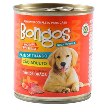 Patê Bongos para Cães Adultos Sabor Frango Lata 280 g