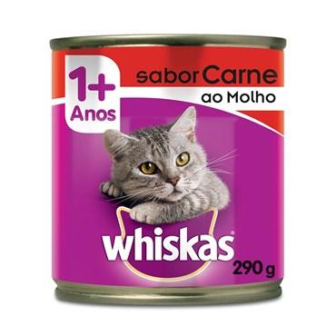 Patê Whiskas para Gatos Adultos Sabor Carne ao Molho Lata 290g