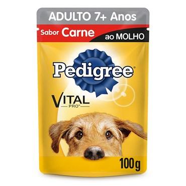 Pedigree Sachê Sabor Carne ao Molho Para Cães Adultos Acima de 7 Anos 100g