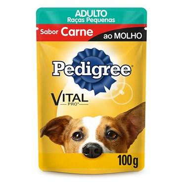 Pedigree Sachê Sabor Carne ao Molho Para Cães Adultos de Raças Pequenas 100g