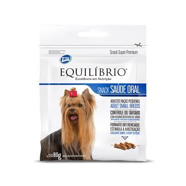 Petisco Equilíbrio Snacks Saúde Oral para Cães Adultos de Raças Pequenas 80g
