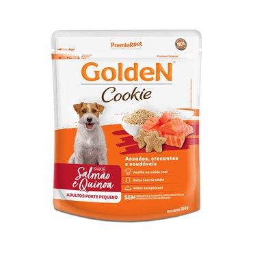 Petisco Golden Cookie para Cães Adultos de Porte Pequeno Sabor Salmão e Quinoa 350g