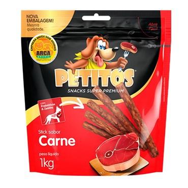 Petisco Petitos Palito para Cães de Sabor Carne 1kg
