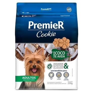 Petisco Premier Cookie para Cães Adultos de Raças Pequenas Sabor Coco e Aveia 250g
