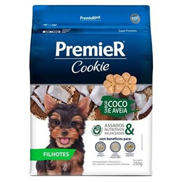 Petisco Premier Cookie para Cães Filhotes Sabor Coco e Aveia 250g