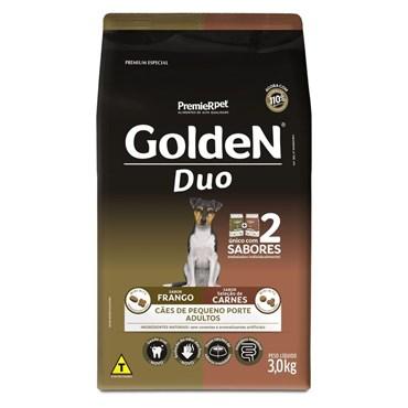 Ração Golden Duo Mini Bitz Cães Adultos Raças Pequenas Sabor Frango e Carne 3Kg