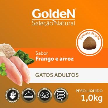 Ração Golden Seleção Natural Gatos Adultos Sabor Frango e Arroz
