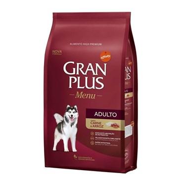 Ração Gran Plus Menu Para Cães Adultos Raças Médias e Grandes Sabor Carne e Arroz