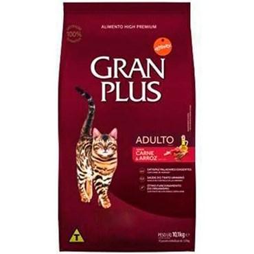 Ração Gran Plus para Gatos Adultos Sabor Carne e Arroz 10,1 kg (Granel)