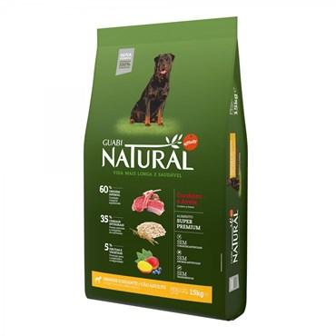 Ração Guabi Natural Para Cães Adultos de Raças Grandes e Gigantes Sabor Cordeiro e Aveia 15kg