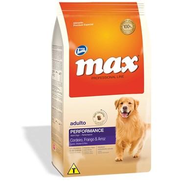 Ração Max Professional Line Cães Adultos Sabor Cordeiro, Frango e Arroz 15kg